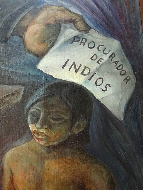 Detail from mural showing the procurer of indigenous slaves at the Municipal Council Building in Valladolid, Yucatan. (Adam Jones, Ph.D. / CC BY-SA 3.0)