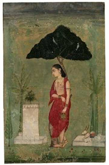Devotion to the tulsi plant, sweet basil; A lady ascetic, 1800s, Rajasthan.