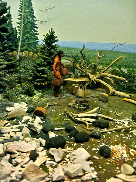 Diorama of Anishinaabe people mining copper near Lake Superior