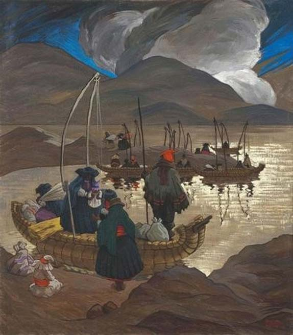 'Disembarking on Lake Titicaca' by Enrique Camino Brent.