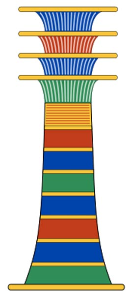 The Djed pillar, an ancient Egyptian symbol meaning 'stability', is the symbolic column or backbone of the god Osiris.