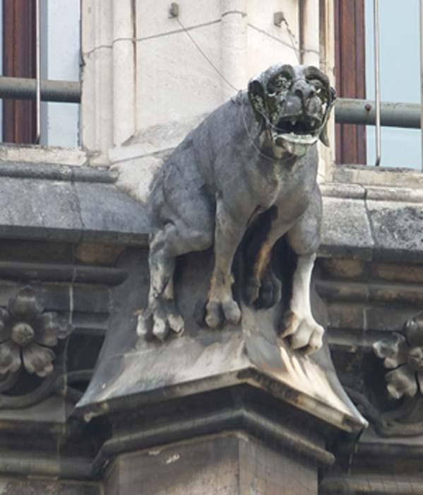 Dog gargoyle on the outer wall of Munich's Neues Rathaus. (Ad Meskens / CC BY-SA 4.0)