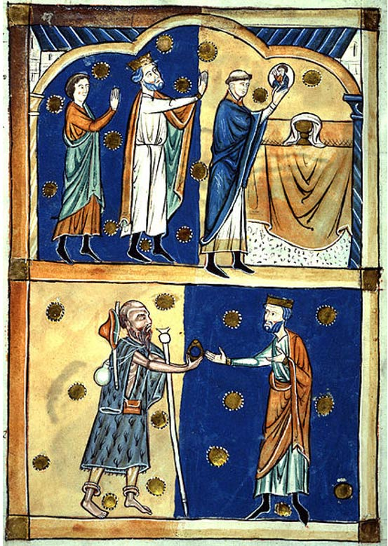 Page from a 13th century Abbreviatio (abridgement) of Domesday Book. Above King Edward the Confessor and Earl Leofric of Mercia see the face of Christ appear in the Eucharist wafer and below the return of a ring given to a beggar who was John the Baptist in disguise.