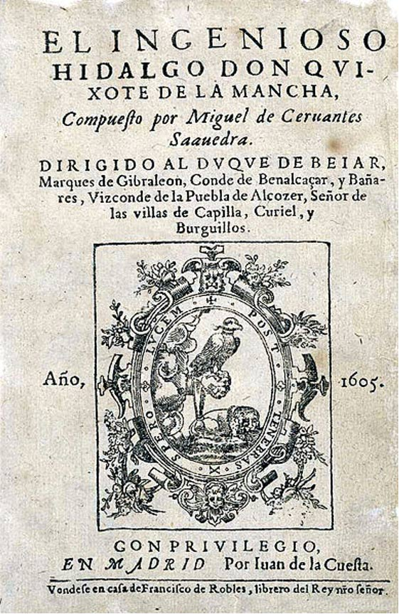 Title page of first edition of Don Quixote. (1605)