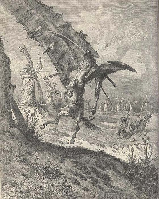 Don Quixote illustration by Gustave Doré, depicting the famous windmill scene. (Public Domain)