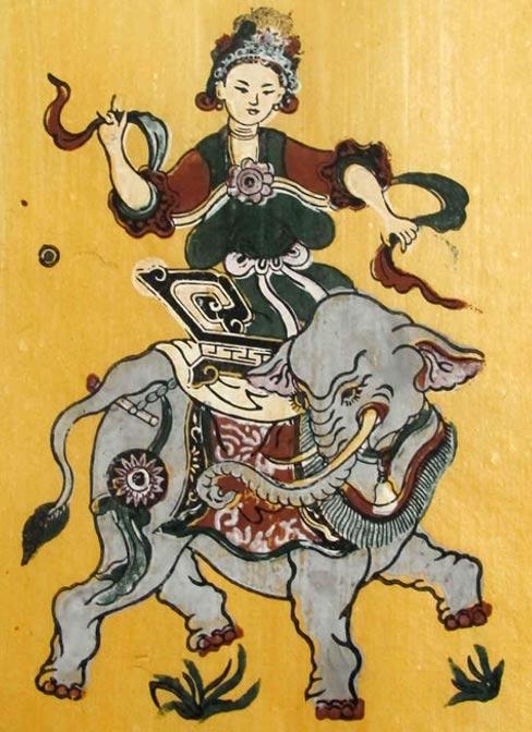 Đông Hồ folk painting of Bà Triệu riding an elephant.