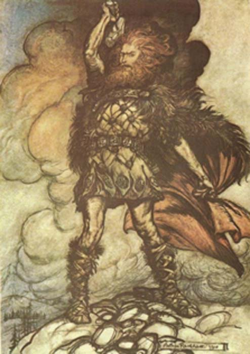Donner calls upon the storm clouds by Arthur Rackham (1910) (Public Domain)