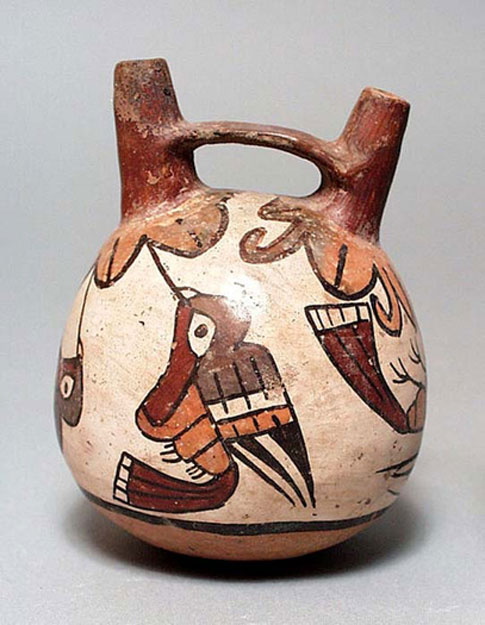Double-Spout and Bridge Vessel showing typical Nazca bird design. Peru, South Coast, Nazca, 100 BC - AD700 ( Public Domain )