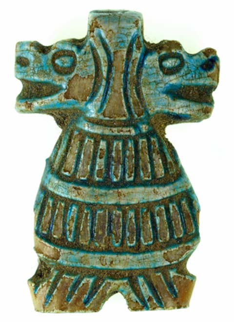 Double-headed amulets of the domestic goddess Taweret are rare forms and date to the 18th dynasty. Amarna is among the known find-spots for these, although this blue faience example is without provenance. New Kingdom. Metropolitan Museum of Art, New York. (Public Domain)