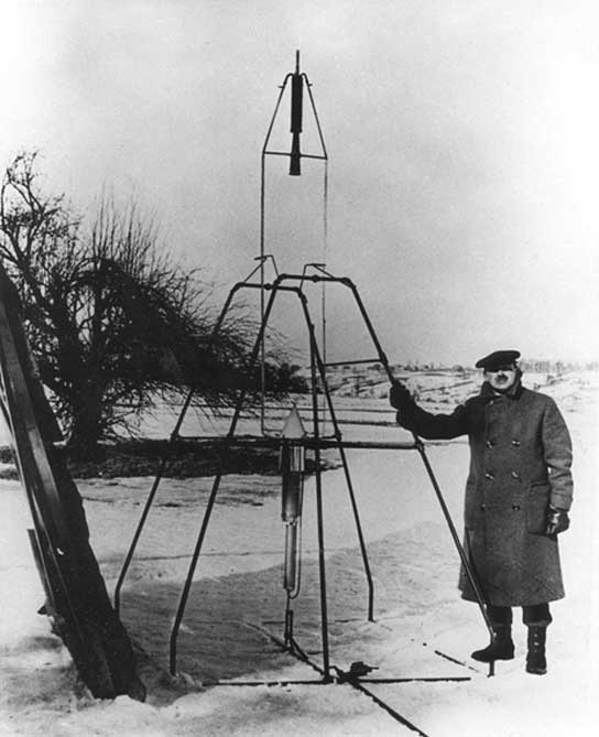 Dr Robert H Goddard and the first liquid-fueled rocket at Auburn, Massachusetts, 1926.