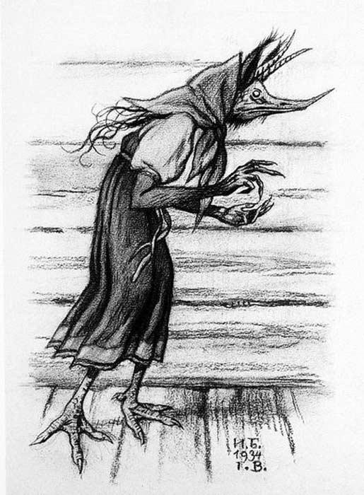 Drawing of Kikimora (1934) By Ivan Yakovlevich Bilibin.