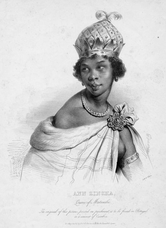 Drawing of Nzinga of Ndongo and Matamba in Luanda, Angola.
