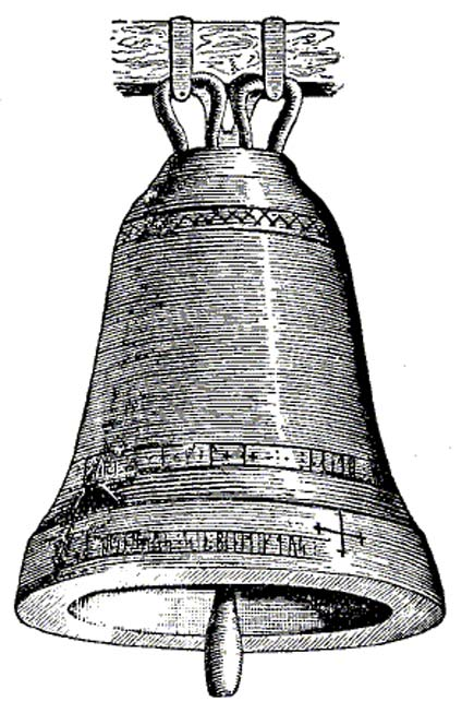 Drawing of a church bell from Saleby, Västergötland, Sweden, with a runic inscription from 1228.