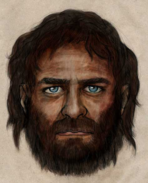 Drawing of what the man may have looked like, based on the information recovered in his genes.