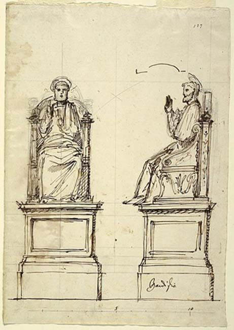 Drawing, Design for a Marble Throne for the Statue of St. Peter, St. Peter's, Rome, 1754.