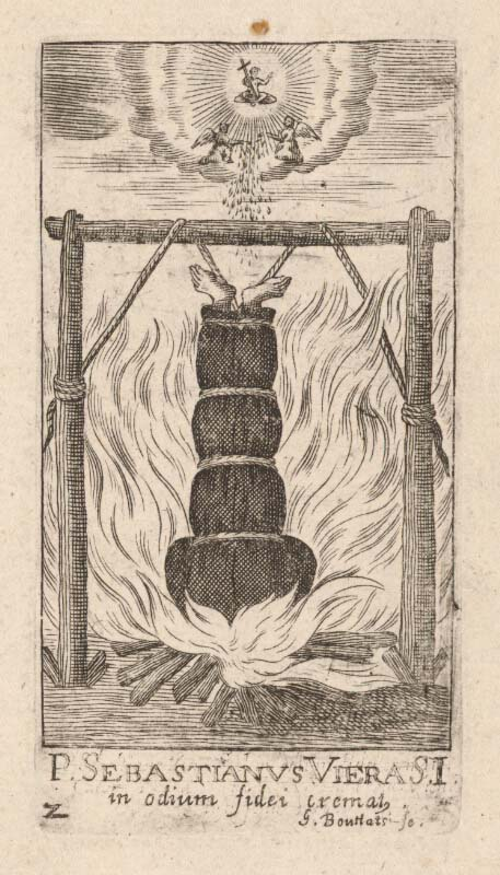 This drawing, from 1656 AD, shows a Christian follower in Japan being burned alive. (Gerard Bouttats / Public domain)