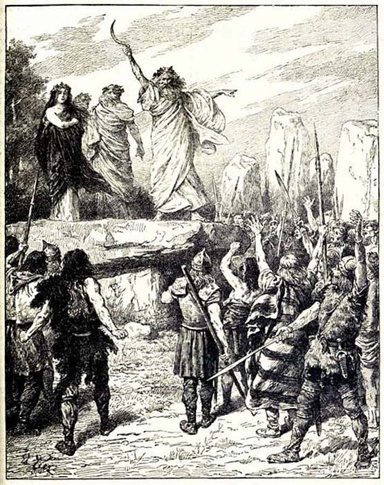 Druids Inciting the Britons to Oppose the Landing of the Romans - from Cassell's History of England, Vol. I - anonymous author and artists. (Public Domain)