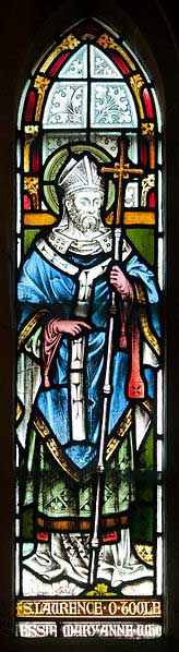 Dublin Christ Church Cathedral Baptistery stained glass window depicting Saint Laurence O'Toole. (CC BY-SA 3.0)