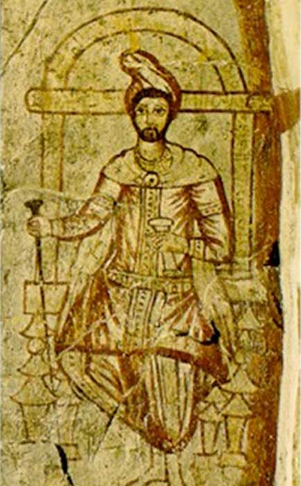 A 3rd century fresco from Dura-Europos in modern Syria, depicting Zoroaster in religious garb.