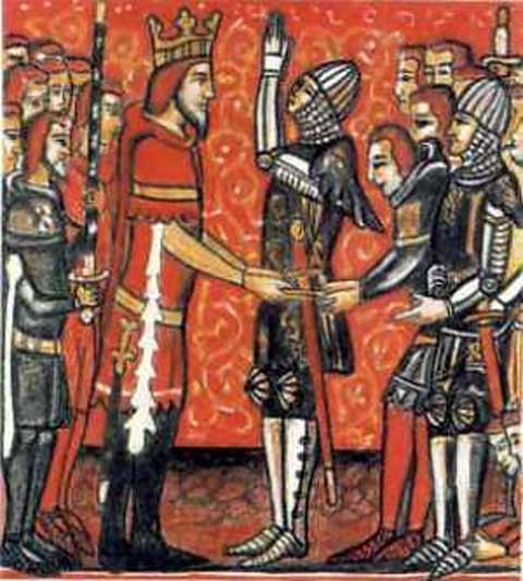 Roland (right) receives Durendal from Charlemagne.