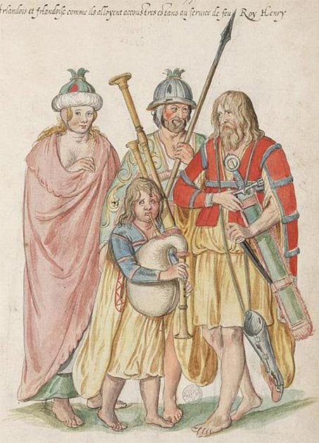 Dutch Water Color Painting 'Irish as they stand accoutred being at the service of the late King Henry' (circa 1575). (Public Domain)