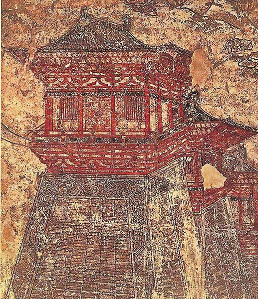 """Early 8th century murals in Prince Yide's tomb give an idea of the magnificence of Chang'an's city walls with their towering gate and corner towers."" (Public Domain)"