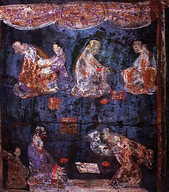 Mural from an Easter Han Dynasty tomb at Luoyang, Henan showing a pair of Liubo players in the foreground, the player on the right with his right hand raised up as if about to throw down the six throwing sticks.