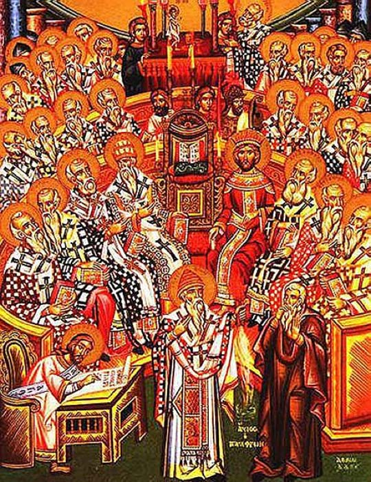 Eastern Orthodox icon depicting the First Council of Nicaea (325). (Public Domain)