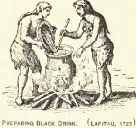 Engraving showing Eastern Woodland people of the United States making black drink in 1723.