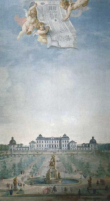 Eastern view of Drottningholm Palace. (ca. 1740) By Johan Pasch and/or Guillaume Taraval.