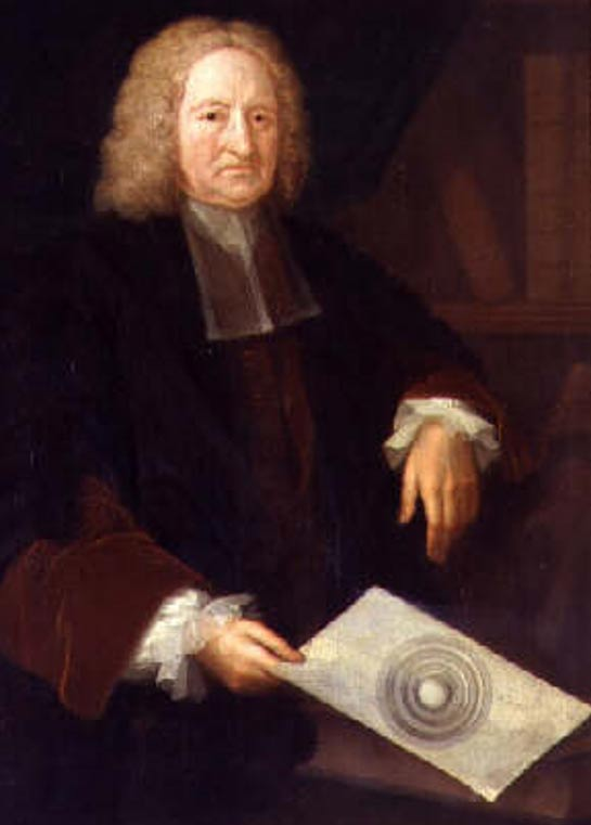 Edmund Halley with a drawing showing shells of his hollow earth theory.