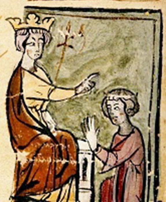 "Edward I creating his son, Edward of Caernarvon (the later King Edward II), prince of Wales, 1301. Text reads ""Eduuardus factus est princeps Wallie"" (Edward is made prince of Wales). (Public Domain)"