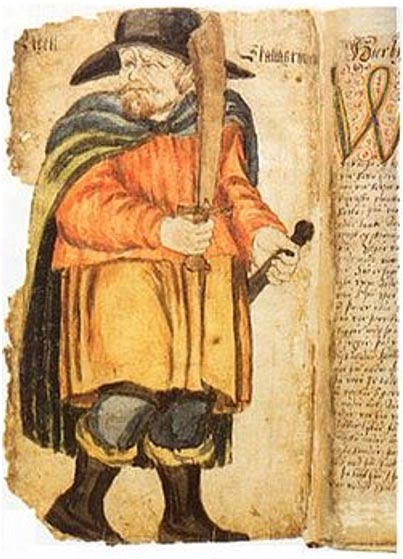 Egil Skallagrímsson the slayer, picture in a 17th century manuscript of Egils saga.