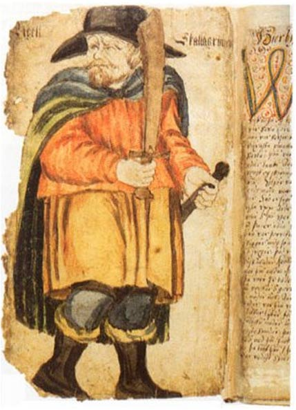 Egill Skallagrímsson in a 17th-century manuscript of Egil's Saga.