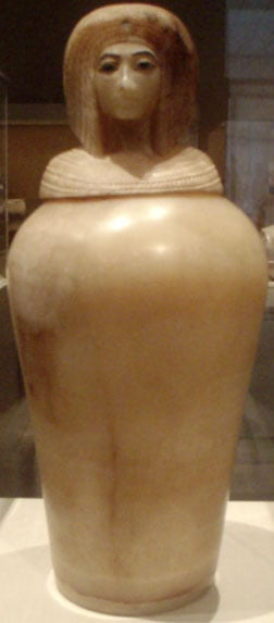 One of the four Egyptian alabaster canopic jars found in KV55, depicting what is thought to be the likeness of Queen Kiya.