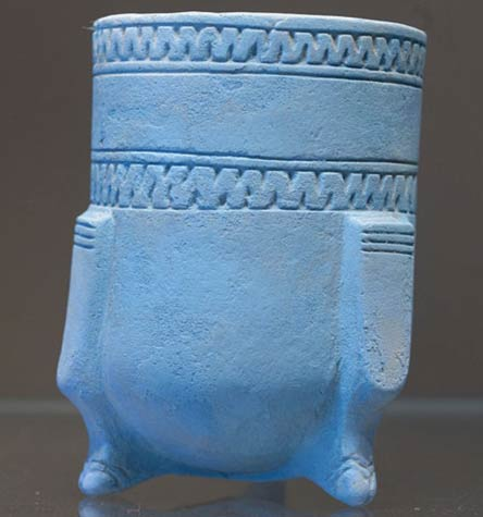 """Egyptian blue"" tripodic beaker"