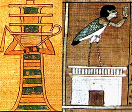 "Figure 7. Left: Egyptian djed pillar, anthropomorphized with flail and crook. Right:  The Egyptian ba represented the ""soul."" Standing on a pylon, this therianthrope raises his hands in prayer or praise."