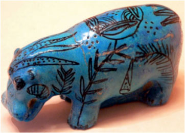 Blue Egyptian faience hippopotamus