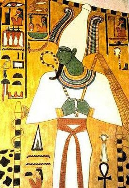 Egyptian god Osiris, with hands in Osiride position.