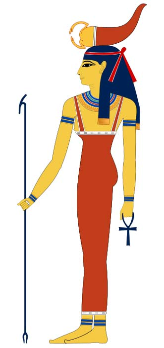 The Egyptian goddess Serqet with a scorpion on her head.