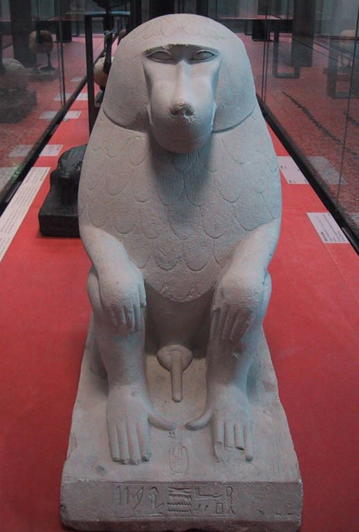 Egyptian statue of a baboon at the Louvre museum