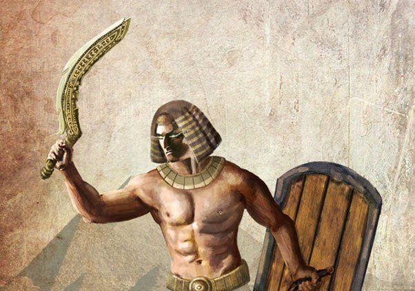 Egyptian warrior with a khopesh sword. (MedievalWeaponsBliss)