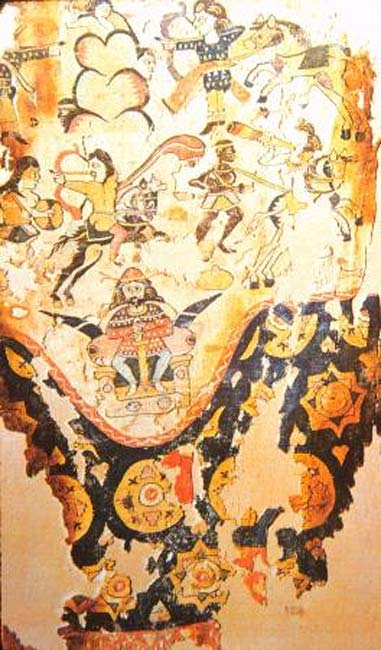 Egyptian-woven woolen curtain or trousers, which was a copy of a Sassanid silk import, which was in turn based on a fresco of King Khosrau I fighting Aksumite Ethiopian forces in Yemen, 5th–6th century.