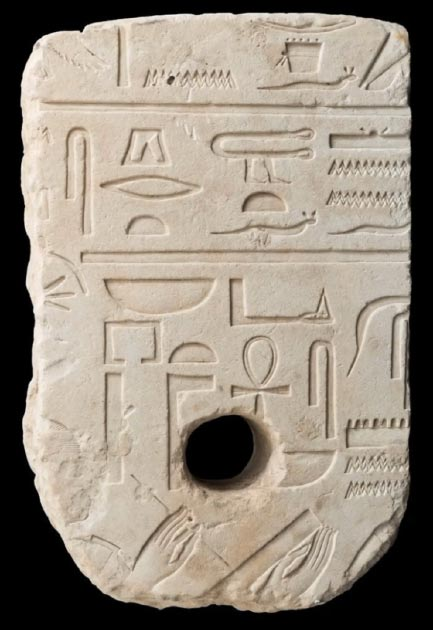 The Egyptian artifact / anchor shown with hieroglyphs found on the seabed. (Laura Lachman / Israel Museum)