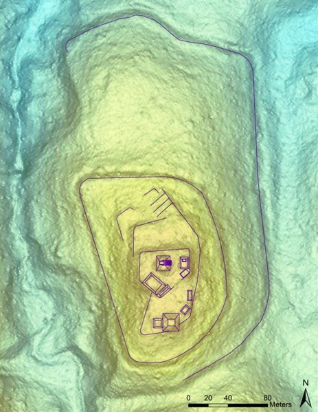 LiDAR image shows the El Pilar Citadel with currently-detected structures and their relative dimensions and locations at the top of the ridge, including the two lower ramparts.