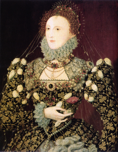 Elizabeth I wears a blackwork chemise and partlet and a gown embroidered with gold thread and studded with pearls. The Phoenix Portrait by Nicholas Hilliard, c. 1575–76