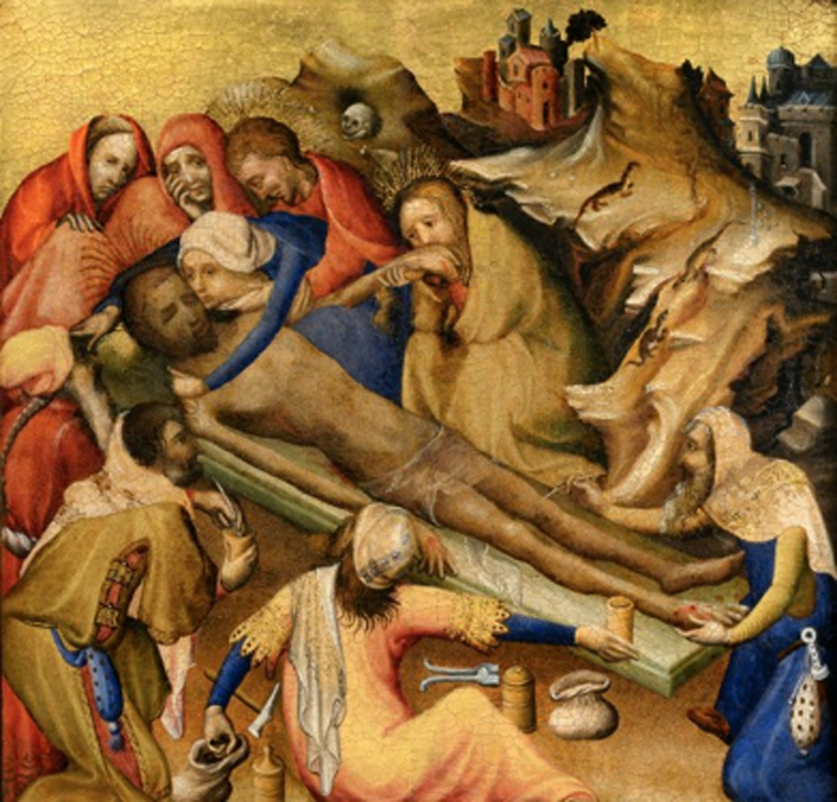 Embalming of the Body of Christ from triptych, by Bruges (circa 1410) (Public Domain)