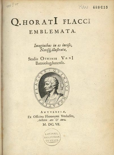 Titlepage of the Emblemata Horatiana by Otto van Veen, published in Antwerp in 1607 by Hieronymus Verdussen