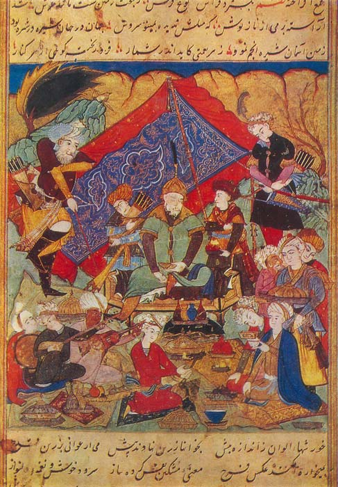 Emir Timur feasts in the gardens of Samarkand.