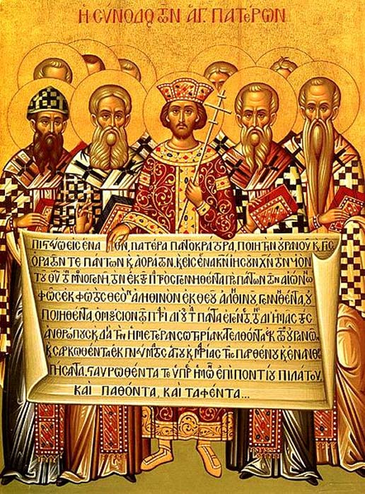 Icon depicting the Emperor Constantine, accompanied by the bishops of the First Council of Nicaea (325), holding the Niceno–Constantinopolitan Creed.